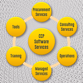 Die Services von CCP: Procurement Services, Operative Unterstützung, Managed Services, Trainings, Tools wie die CCP License Library, CCP LiMa Connector und die CCP SKU Database.